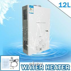 12L LPG Gas Tankless Water Heater Portable Instant Camping Boiler with Shower Kit