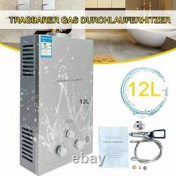12L Propane Gas Water Heater Tankless Instant Hot Water Heater with Shower Kit