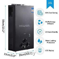 16L LPG Tankless Gas Hot Water Heater Camping Instant Motorhome Water Heater