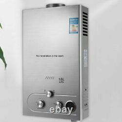 18L Hot Water Heater 2000 Pa LPG Gas Tankless Instant Boiler With Shower Kit