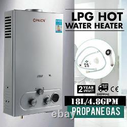 8L GAS LPG Hot Water Heater Propane Tankless Stainless Instant Boiler +Shower