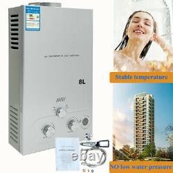 8L Portable Gas Tankless Water Heater Propane Gas Camping Outdoor Shower With Kits