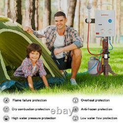 Camplux AY132P43 5L Portable Gas Water Heater with 4.3L Water Pump 12V, Tankless