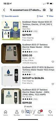 EcoSmart ECO 27 Tankless Electric Water Heater White