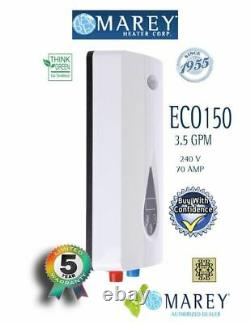 Electric Tankless Water Heater Marey ECO150 Refurbished Best 3.5 GPM 220V 14.6kW