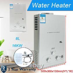 8l Gaz Naturel Chauffe-eau Chaude Sur Demande Tankless Instant Indoor Shower Kit Uk