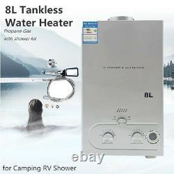 8l Portable Propane Gas Tankless Chauffe-eau Instantanée Camping Horse Shower