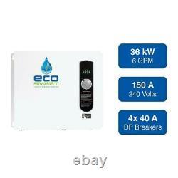 Ecosmart 36kw Electric Tankless Chauffe-eau Auto Modulant Mur 6gpm Mountable