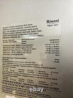 Rinnai Rl94in Chauffe-eau Sans Réservoir Gaz Naturel Reu-vc2837ffud-us-n Q-32